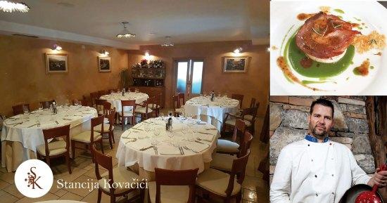 Restoran i smještaj Stancija Kovačići, Tradicionalna domaća, mediteranska, primorska, istarska, kuhinja, vrhunska jela, chef Vinko Frlan, ručak prva pričest, večere vjenčanja, Jela sa šparogama, vrganjima, od boškarina, pljukavci, ravioli, istarska maneštra, istarski pršut, domaća tjestenina i svježi kruh, janjetina, teletina ispod peke, škampi, riba, divljač, grobnički sir i skuta, s okusom tartufa, blizina mora, šetnice, u Matuljima, Matulji, u blizini i kod Opatije, rivijera Opatija, Kvarner, ispod Učke, na Kvarneru, Rijeka, Volosko, Lungo Mare, Istra
