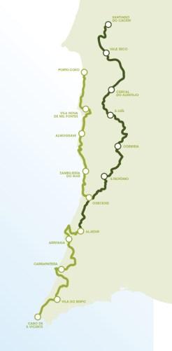 mapa da rota vicentina