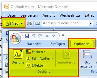Menü Design beim Erstellen einer neuen E-Mail