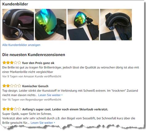 Bewertungen auf Amazon helfen bei der Kaufentscheidung