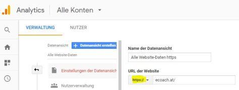 Google Analytics Verwaltung: hier URLS auf HTTPS umstellen