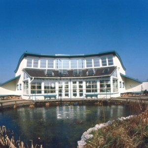York Zero CO2 Environmental Education Centre from lake