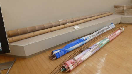 9m bamboo poles are split to make the frames.  Photo and permission Su Grierson