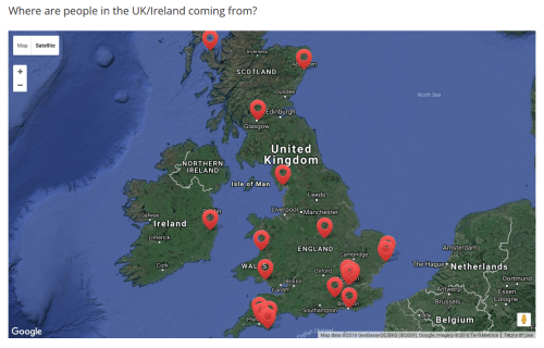 Map showing where people are coming from across UK and Ireland- there is also a statement on environmental impact.