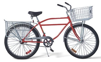 red bicycle with cargo baskets