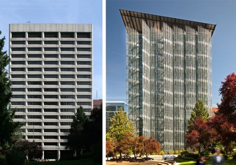 A before and after of the Wendell Wyatt Federal Building in Portland, OR
