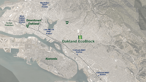 aerial view of oakland ecoblock within the bay area