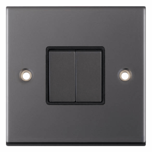 Black Nickel light switch with matching rockers 2 gang 2 way