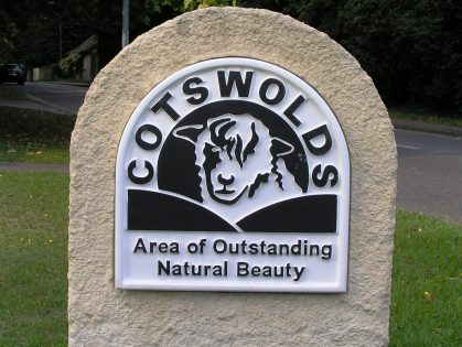 The Cotswolds AONB sign