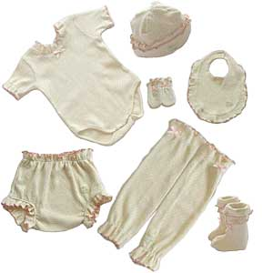 organic pink frilly baby clothes in pointelle