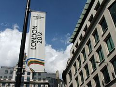 London 2012 banner at The Monument.
