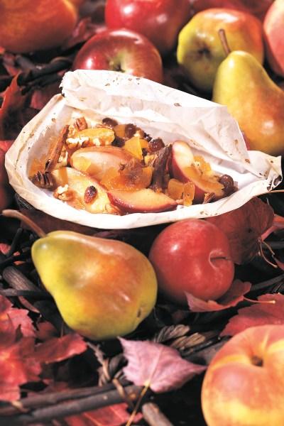 Vegetarian, Herbal Recipes:  Fall Fruit en Papillotte