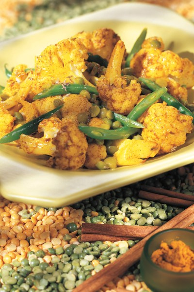 Vegetarian Vegan Herbal Recipes:  Golden Cauliflower with Split Peas