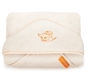 Super soft, super snuggly organic cotton baby towel by Erbaviva