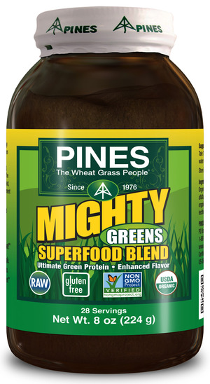 nutrient-dense, dark-green blend of organic wheatgrass and organic alfalfa combined with another nutrient-dense superfood.