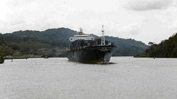We met a freighter on Gatun Lake on our way to Pedro Miguel Locks