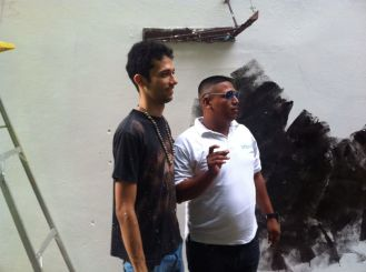 Artist and guide working together for San Felipe