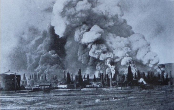 1. Baku oil fields burning