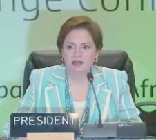 Пані Еспіноза, Президент минулорічної кліматичної конференції, відкрила переговори зі зміни клімату в Дурбані