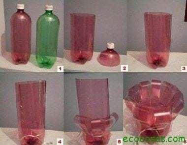 Paso a paso de los candelabros Ideas para reciclar botellas de plástico