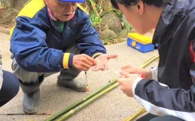 竹を切って釣り竿作り!