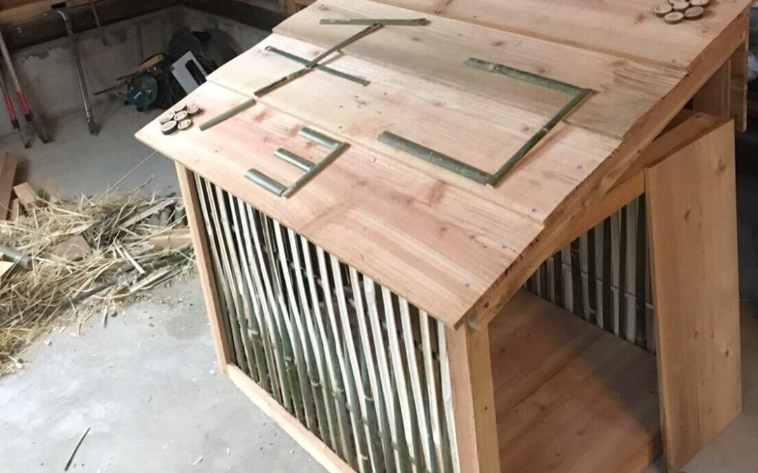 竹で犬小屋作り