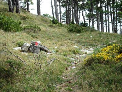 hitos de piedras y marcas rojas indican el camino