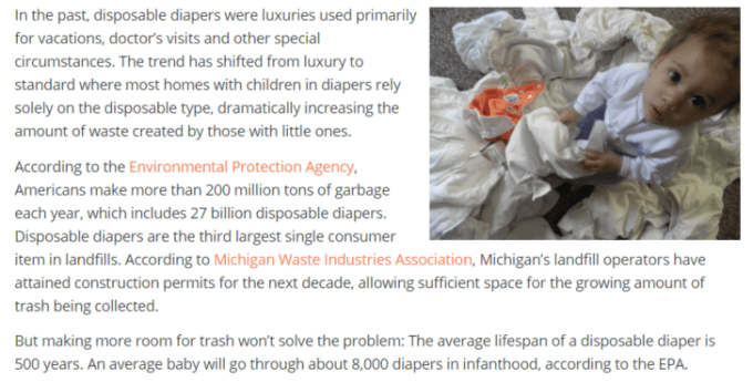 8,000 diapers used