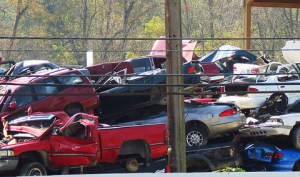 Vehicles ready to get recycled