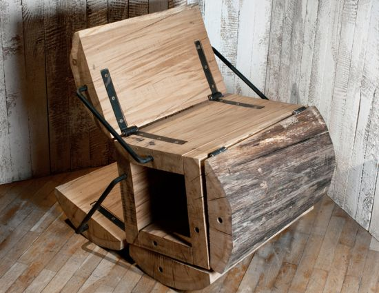 6 Eco Friendly Diy Homes Built For 20k Or Less: Waste Less Chair: Atypical, Reclaimed Oak Timber Log Chair