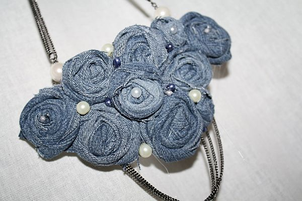 Colorful recycled denim beads chain