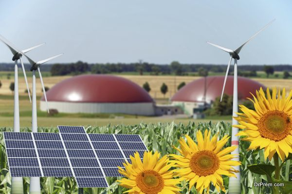 Biogas facility with sunflowers and wind turbine with solar panel