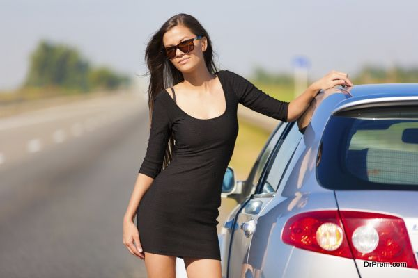 brunette woman road car