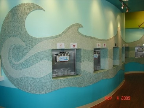 This Yogurt shop in Hawaii used our crushed glass mosaics to design their wall surfaces.