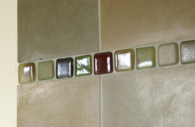 Use Glass tiles as your deco strip