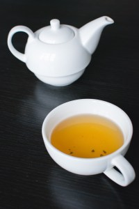 green tea and tea pot