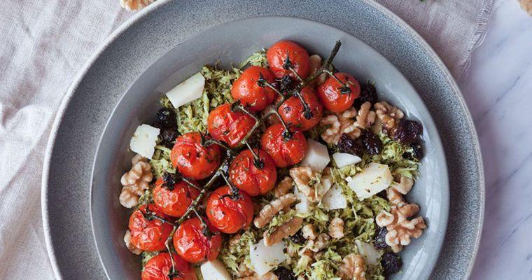 Cuscús de brócoli con tomates asados