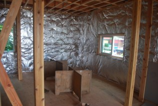 Finished insulation on the walls
