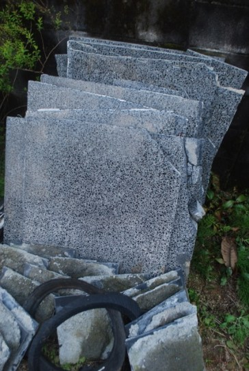 Stone from the old guest house that was demolished