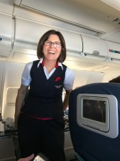 Karen DeArmey, a surprise veteran missioner as lead flight attendant on our flight