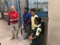 Student tour guides, speaking to us in English!