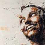 Mutation Yūrei - Acrilico su tessuto Damasco - cm.80x90 - 2013 (dipinto con pennelli, mani e piedi)