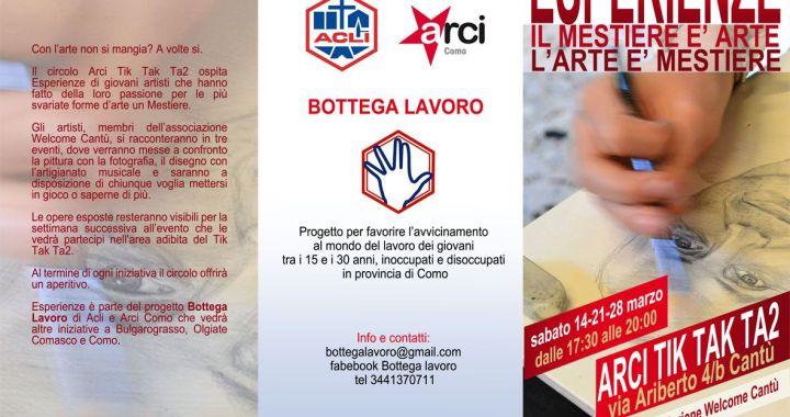 14 Marzo/ Bottega Lavoro/ Esperienze al Tik Tak Ta2 di Cantù