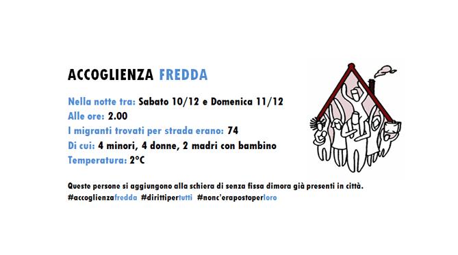 """Il termometro dell'""""accoglienza fredda"""" di Csf/ 10-11 dicembre: 74 in strada"""