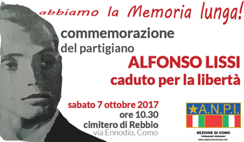 7 ottobre/ L'Anpi ricorda Alfonso Lissi