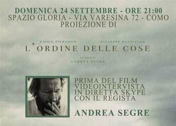 24 settembre / Al Gloria Segre (via Skype in diretta) presenta L'ordine delle cose