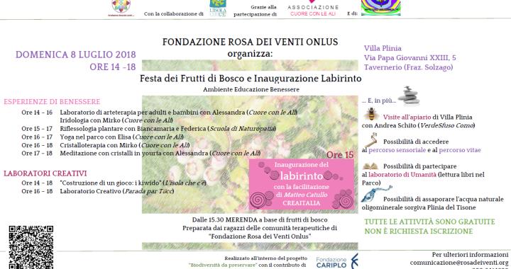 8 luglio/ Tavernerio/ giornata dei frutti di bosco e inaugurazione del labirinto