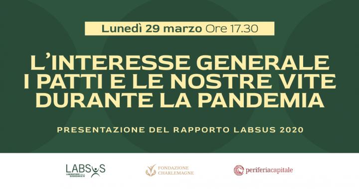 Diretta/ La pandemia  non ferma la cittadinanza attiva- rapporto Labsus 2020