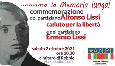 2 ottobre/ Commemorazione di Alfonso Lissi a Rebbio