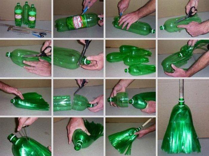 Como hacer una escoba con botellas de plástico